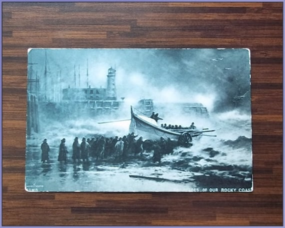Antique Post Card, Original 1909 Postcard : Heroes of our rocky coast postcard - posted Scarborough 1909
