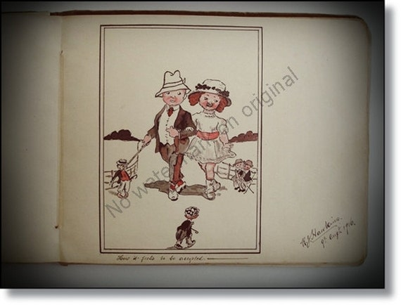 Rare Vintage Autograph Book :WW1 Period with Sketches, Poems With A Little  Military Interest