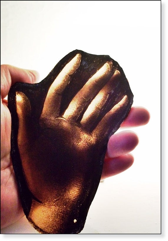 Antique Stained Glass Hand :  Ancient Gothic Work of Fine Art, Church Window Fragment,