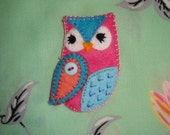 Owl Handmade Felt Brooch gift UK seller