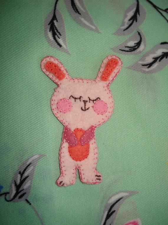 Bunny rabbit brooch Handmade Felt