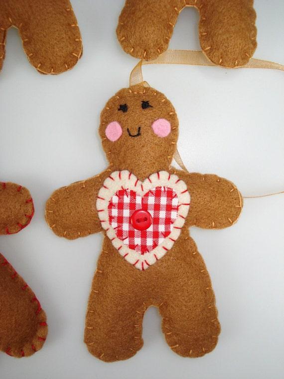 Christmas decorations felt gingerbread men - Decorations for gingerbread man ...