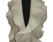 Ruffle Scarf Shawl stole cape capelet Felted super soft ivory Brooch flower
