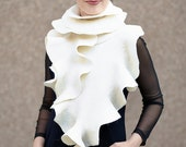 Felted ivory long ruffles luxurious shawl wrap scarf Super soft