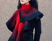 Gothic Handmade wool felted Scarf Shawl Wrap stole cape capelet Red, ruby and black