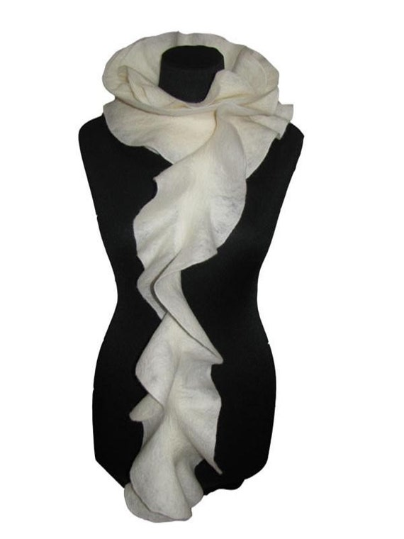 Handmade wool ruffle scarf felted long scarf Neck Warmer ivory White rose Ready to ship