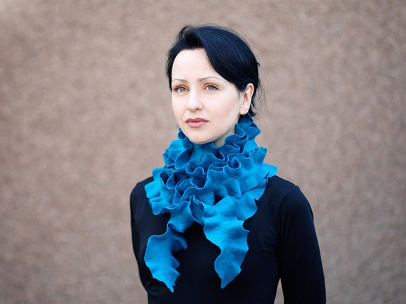Handmade felted wool ruffle scarf  long scarf Neck Warmer turquoise