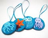Under the Sea felt ornament set - jellyfish, starfish and octopus