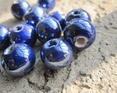 Ceramic Porcelain 10mm Round Ball Beads-- Lapis Royal Blue-- 20 pcs