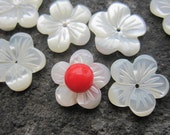 Special Bulk Wholesale --White Mother of Pearl Shell Carved Flower Cabochon 12x2mm Focal Designer Beads -- 20pcs