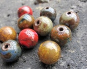 Porcelain Ceramic 12mm Round Beads -- Antique Mixed Metalic Red Brown Khaki Blue Yellow Colors -- 10pcs