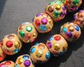 10pcs Bollywood Kashmiri beads- Coffee Brown with Rainbow pots Kashmiri 14x16mm Round Balls-- big hole 4mm