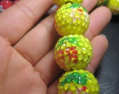 2012 New-- 10pcs Wood with Rhinestone Bling Beads--  Yellow with Flower 22mm Spacer Shimmer Round Ball- Large 6mm hole