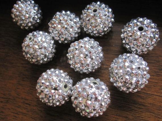 Destash Price --25pcs Resin Rhinestone Beads--  20mm Round Bling Balls --Pewter Silver Resin Rhinestone Spacer Shimmer