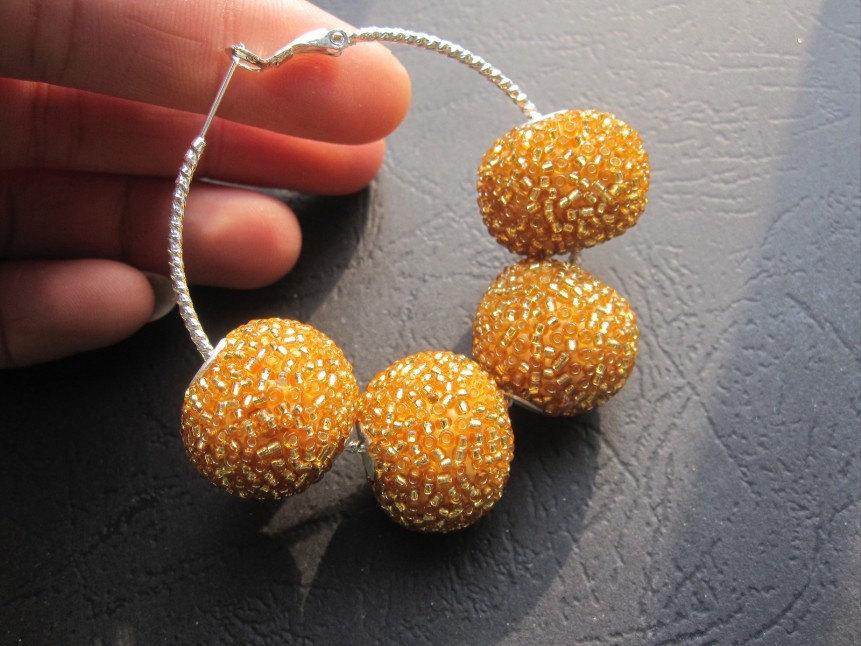 10pcs Kashmiri beads- Honey Gold Kashmiri 22mm Round Balls-- big hole 4mm