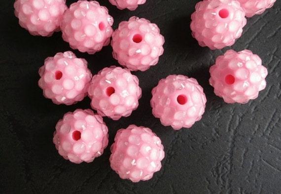 Destash Price --30pcs Resin Rhinestone Beads-- Pink Spacer Shimmer 14mm Round Bling Balls