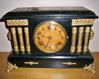 Antique 100 Years Old 1910 Gilbert Victorian 8 Day Windup Mantle Clock
