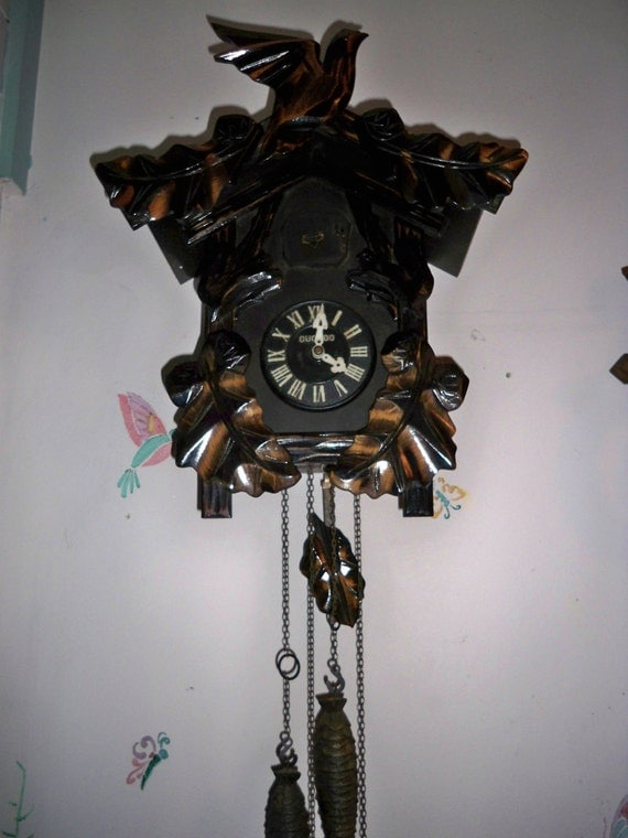 Reserved for Herb - Rare Vintage Wooden Japanese Mi-Ken Cuckoo Clock  2 Weight One Day