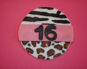 Items similar to zebra print diva princess cupcake tower for Animal print edible cake decoration