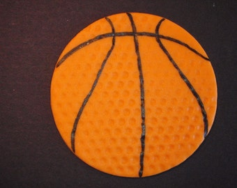 Basketball Fondant Cupcake Topper Decoration Perfect for Sports, B ball, Birthday or Bachelor Parties