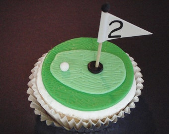 Golf Hole Fondant Cupcake Topper Decoration- Great for Fathers Day, Birthdays. Masters or Grooms Wedding Cupcakes