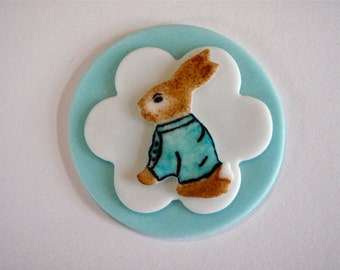 Storybook Bunny Rabbit Fondant Cupcake Topper Decorations- Perfect for a baby showers, first birthday parties, Easter and christenings