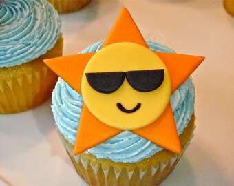 Sun wearing Sunglasses Edible Fondant Cupcake Topper Decoration