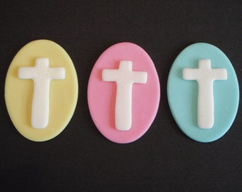 Cross Edible Fondant Cupcake or Cake Topper- Great for Baptism, Christening, Wedding, Confirmation Parties