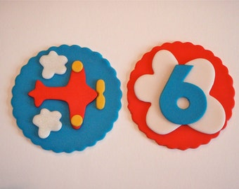 Airplane Fondant Cupcake Topper Decorations- Great for a Boy's Birthday, Aviator, Transportation, Flying, Adventure or Pilot Parties