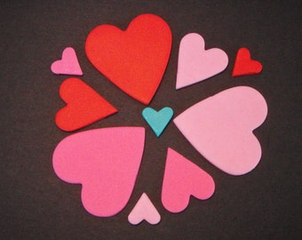 Edible Fondant Heart Decorations for Cupcake Toppers, or Cakes Perfect for Valentine's Day cakes or cupcakes