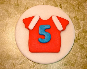 Sports Shirt Jersey Fondant Cupcake topper Decoration- Personalized with number or letter - Great for Baseball, Soccer or Football Parties