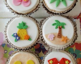 Tropical Hawaiian Luau Fondant Cupcake Topper Decorations- Perfect for Beach parties, Pool Parties, Summer