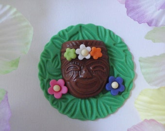 Tropical Tiki Mask Fondant Cupcake Topper - Perfect for Birthdays, Weddings, Luaus, Summer, Beach and Pool Parties