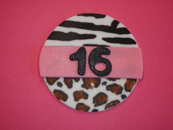 Items similar to zebra leopard animal print edible fondant for Animal print edible cake decoration