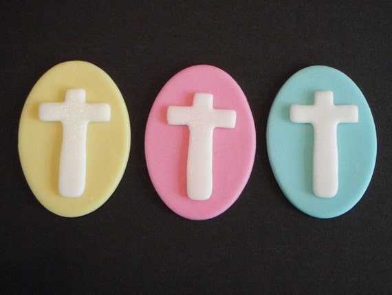 Cross Fondant Cupcake or Cake Topper- Great for Baptism, Christening, Wedding, Confirmation Parties