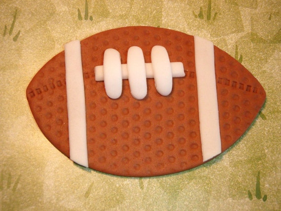 Football Edible Fondant Cupcake Topper Decoration- perfect for the Super Bowl