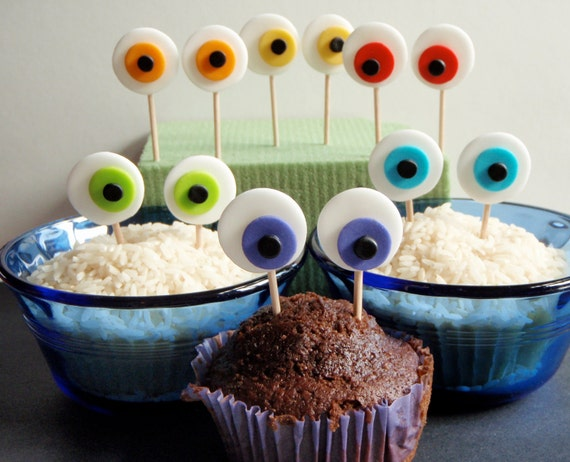 Monster Eyes Edible Fondant Cupcake Topper Decorations