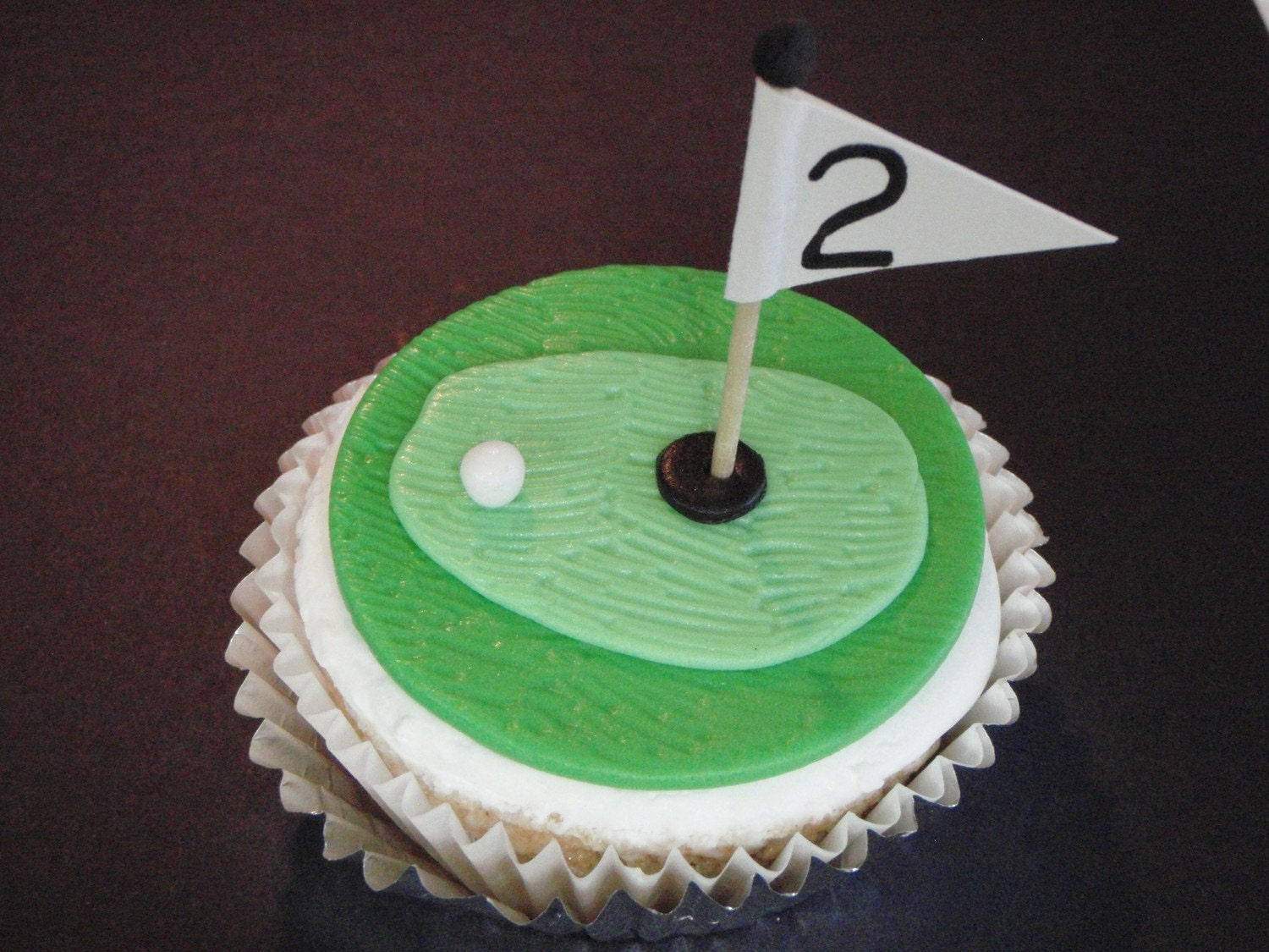 golf hole fondant cupcake topper decoration great for fathers
