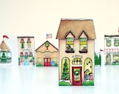 Christmas village ... paper town shops ...  DIY PDF.