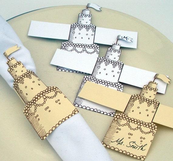 items similar to bridal shower wedding cake napkin ring place card diy printable down load. Black Bedroom Furniture Sets. Home Design Ideas