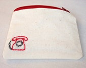 Hand embroidered red cream purse