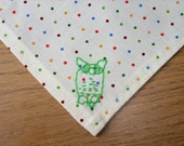 Polka dot handkerchief with hand embroidered owl