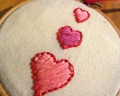 Three Hearts - Valentine's Day / Mother's Day / Anniversary Embroidery Hoop Art