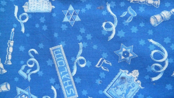 One Fat Quarter of Jewish, Shalom, Star of David and Scroll 100% Cotton Fabric
