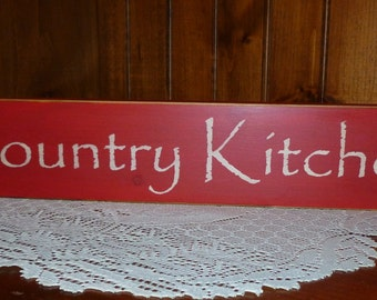 "Primitive ""Country Kitchen"" wood sign"