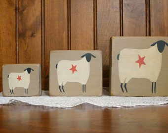 wooden Prim Sheep  blocks sitters Shabby Chic Primitive Country