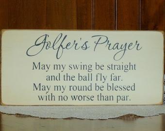 "Primitive ""Golfer's Prayer"" wooden sign - your color choice"