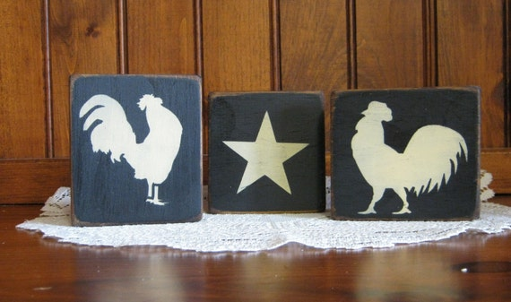 """wooden """"Roosters and Star""""  blocks sitters Shabby Chic Primitive Country"""