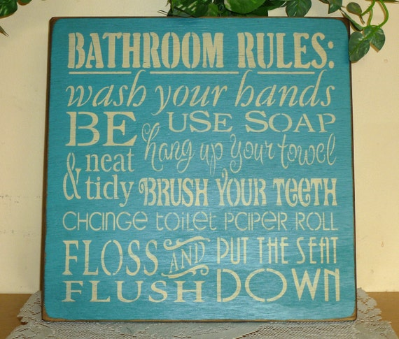 """Primitive """"Bathroom Rules"""" wood sign - your color choice"""