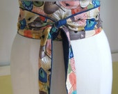 Stormy Weather reversible obi-style sash